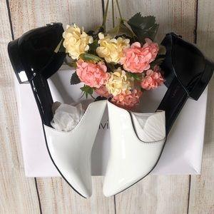Calvin Klein Women's Edona Loafer Flat,White/Black